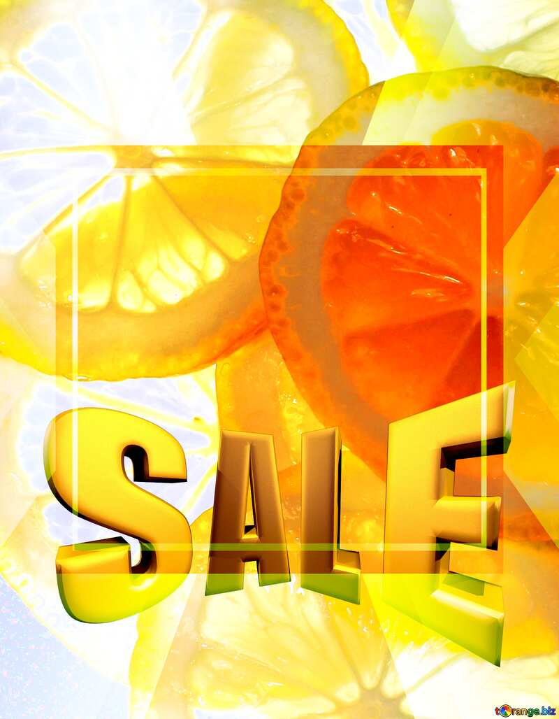 Sliced lemon Sales promotion 3d Gold letters sale background Template №18326
