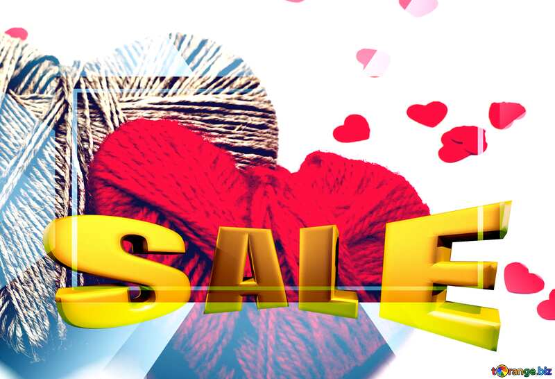 Hearts of lovers Sales promotion 3d Gold letters sale background Template №16409