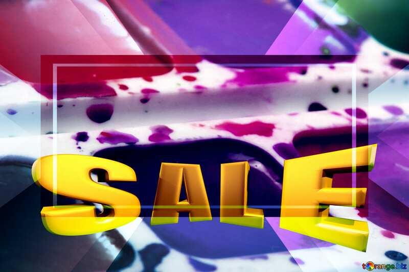 Watercolor paints Sales promotion 3d Gold letters sale background Template №18025