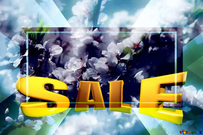 Spring pictures Sales promotion 3d Gold letters sale background Template №39775