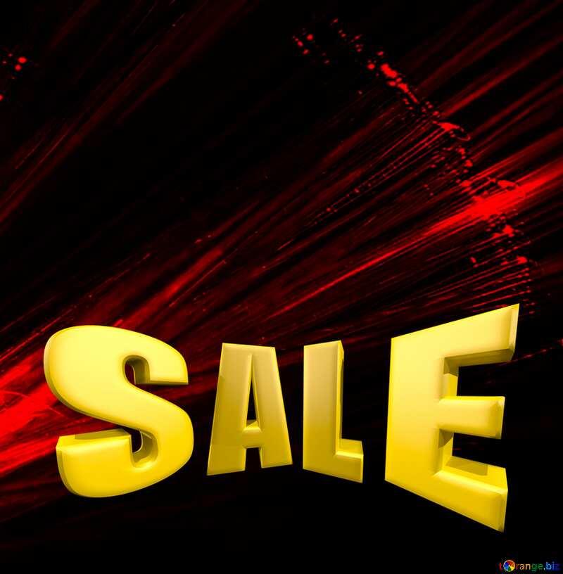 Red Lights fractal background Sale offer discount template Sales promotion 3d Gold letters sale №25870