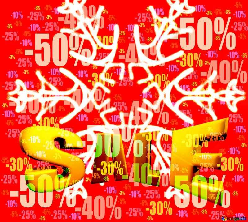 Snowflake pattern Sales promotion 3d Gold letters sale background Discount Design №40244