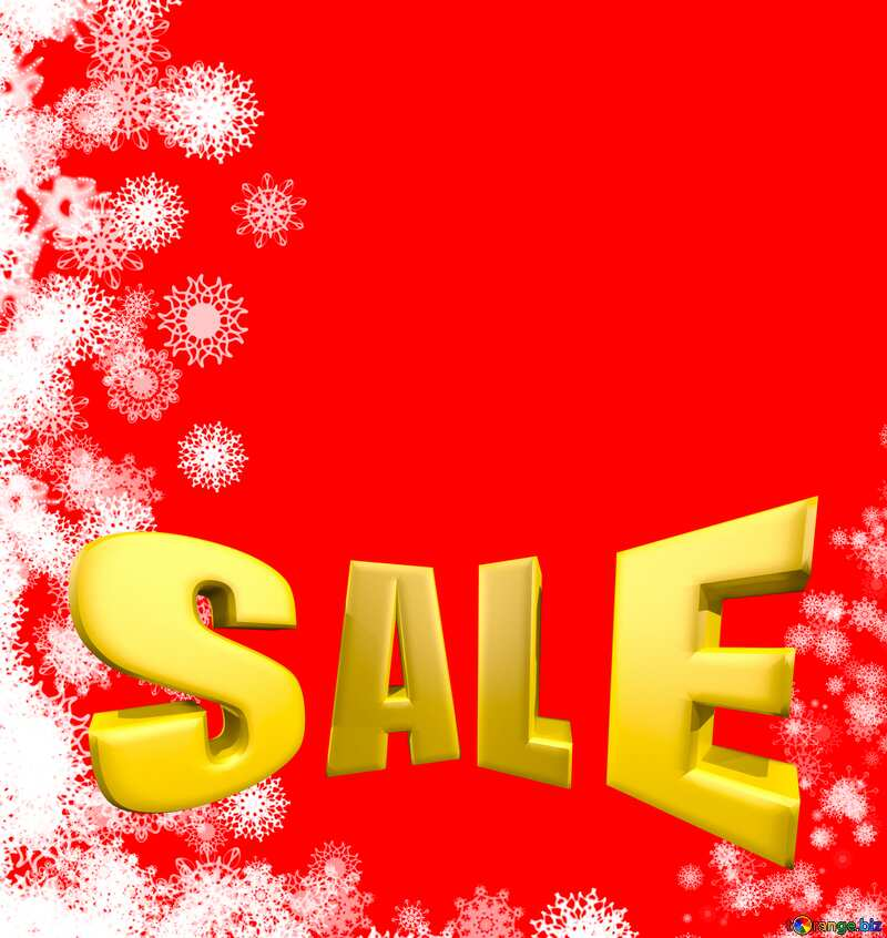 Background red Snowflakes winter sale banner template design background Sales promotion 3d Gold letters №40696