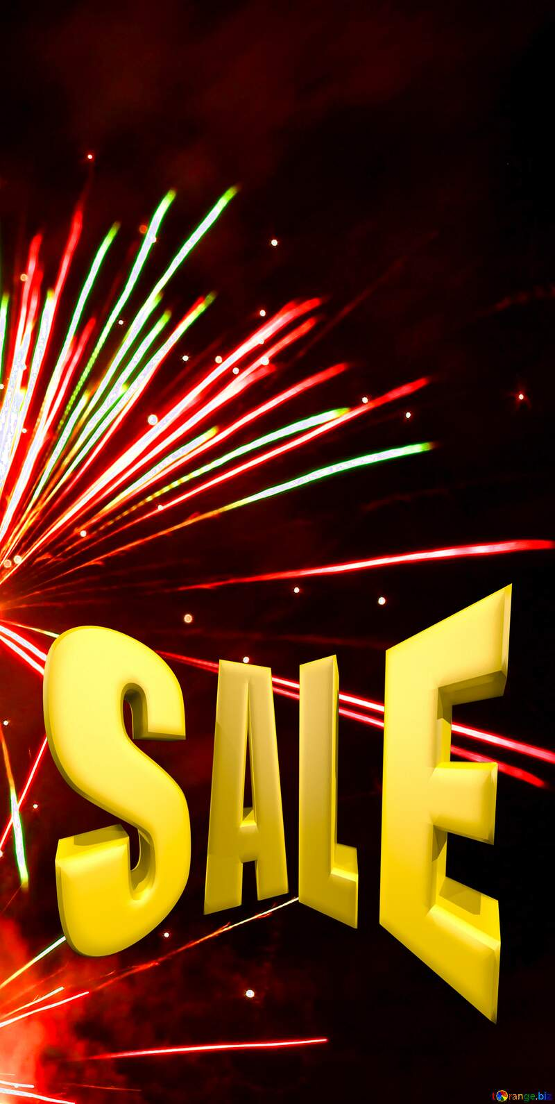 New years Fireworks pattern background Sale offer discount template Sales promotion 3d Gold letters №37177