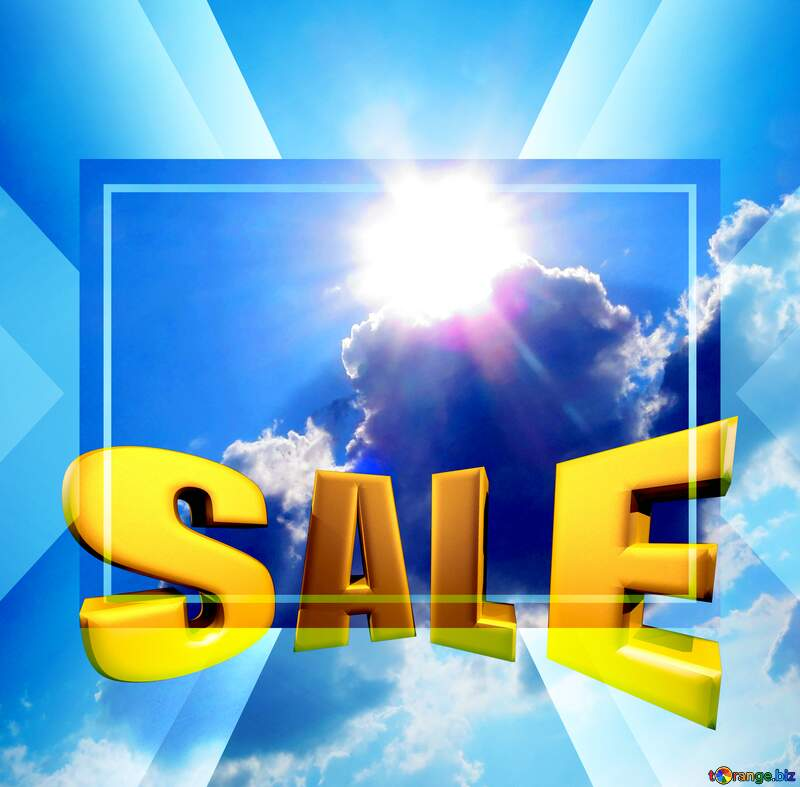 Sales promotion 3d Gold letters sale background Sun Sky Clouds Template №27344