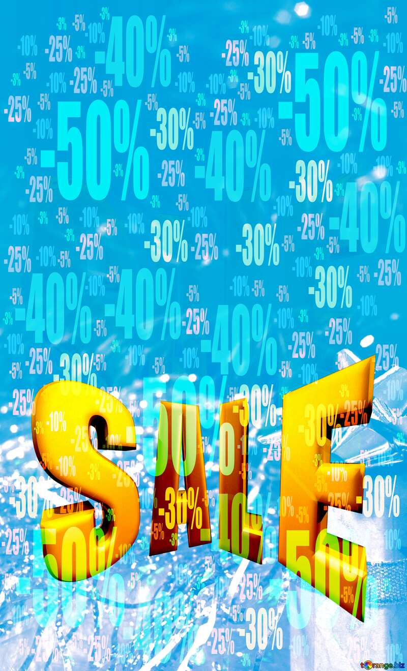 Winter Christmas Sale blue white background №6494