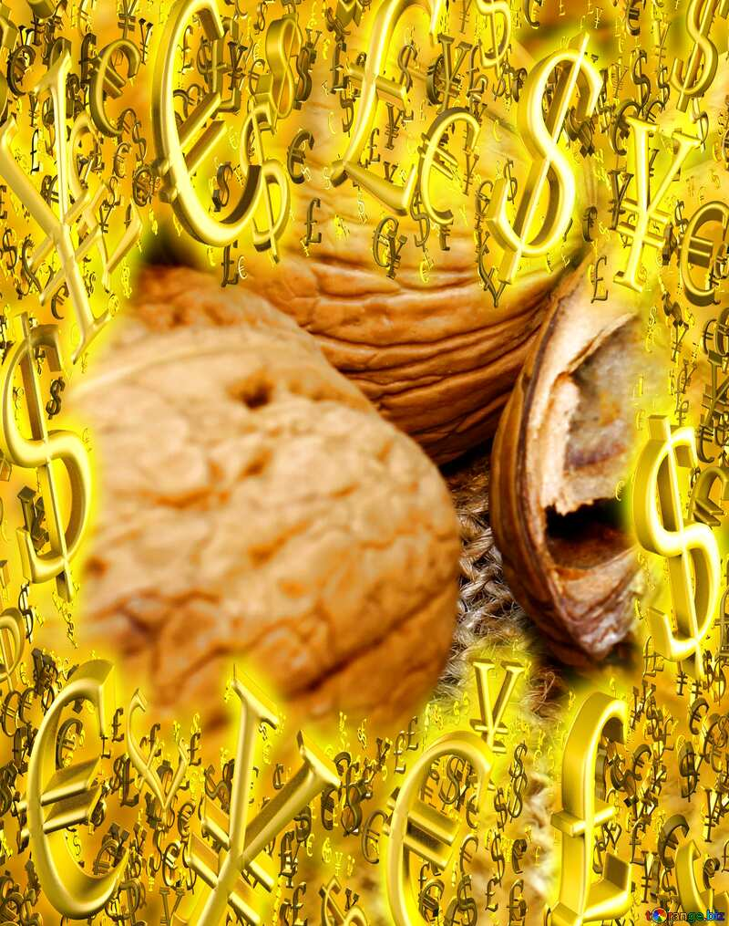 Walnuts Sale offer discount template Gold money frame border 3d currency symbols business №46225