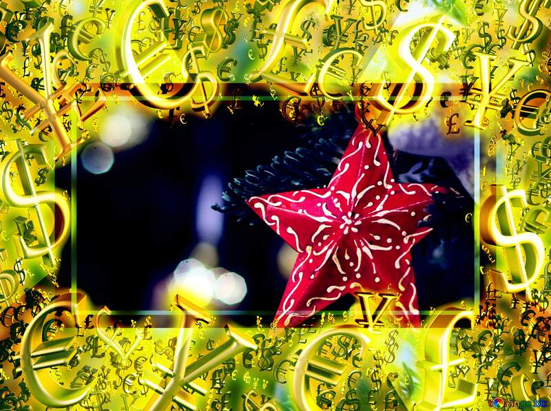 Background with a beautiful Christmas star Gold money frame border 3d currency symbols business template №47582
