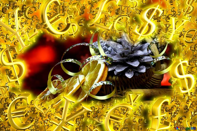Christmas background with natural ornaments Gold money frame border 3d currency symbols business template №48196