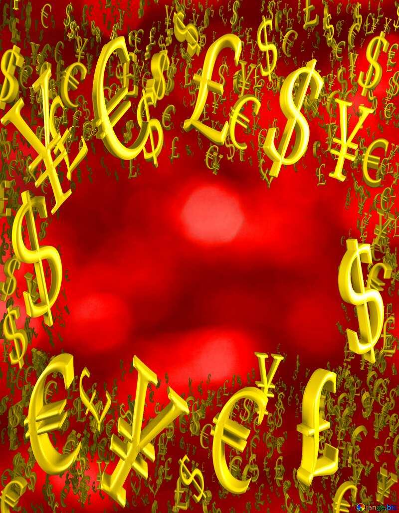 Christmas Shiny background light pattern Gold money frame border 3d currency symbols business template №37825