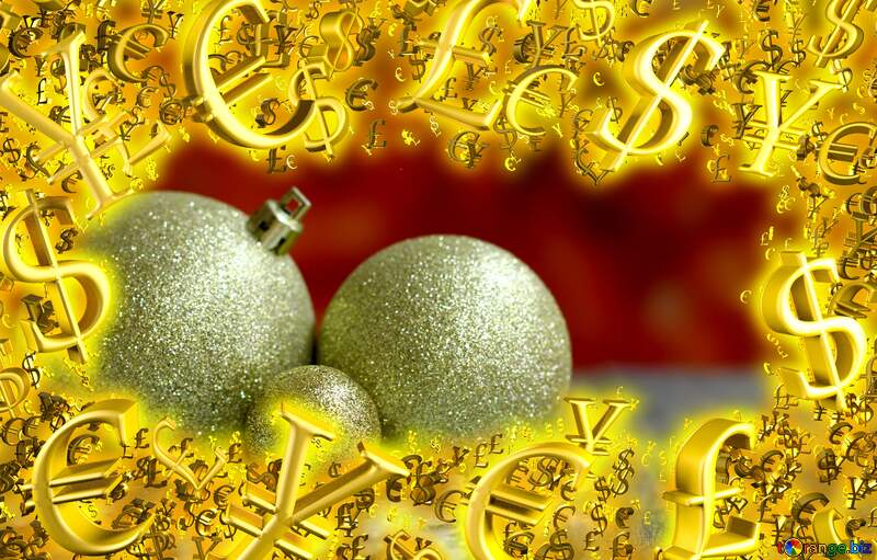 Christmas balls on the blurry background Gold money frame border 3d currency symbols business template №48078