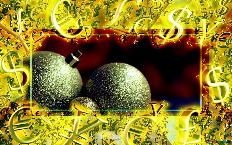 Christmas balls on the blurry background Gold money frame border 3d currency symbols business template №48077