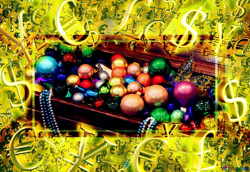 Chest full of Christmas toys Gold money frame border 3d currency symbols business template №47654