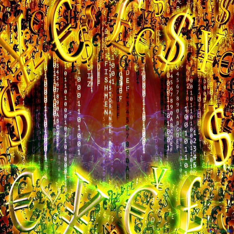 Digital enterprise matrix style background Gold money frame border 3d currency symbols business template №49671