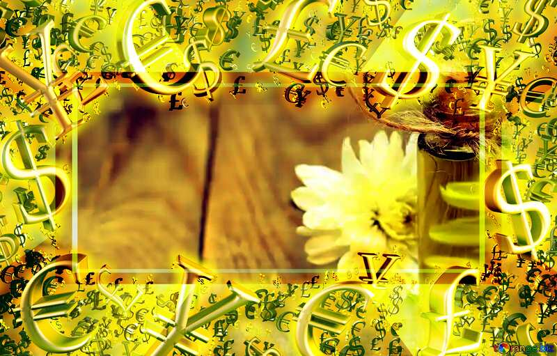 Natural oil background blank with a flower Gold money frame border 3d currency symbols business template №46215