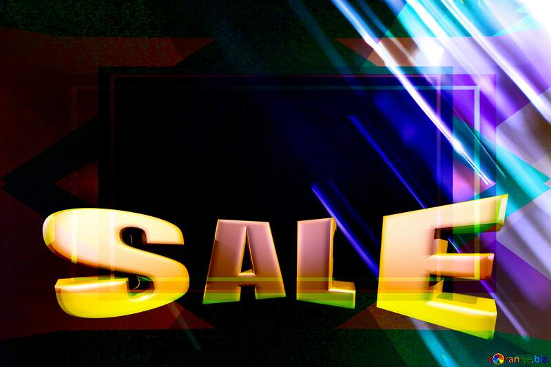Bokeh background Blank Frame Template Sales promotion 3d Gold letters sale №1700