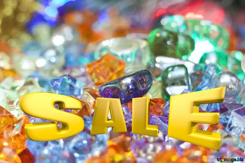 Motley background at festive Card Sales promotion 3d Gold letters sale №6518