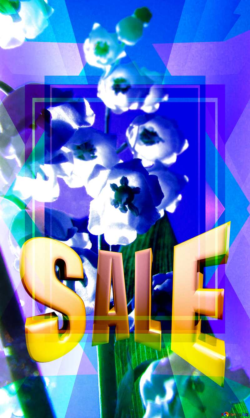 Flowers lily Blue Blank Frame Design Template Sales promotion 3d Gold letters sale background №5266