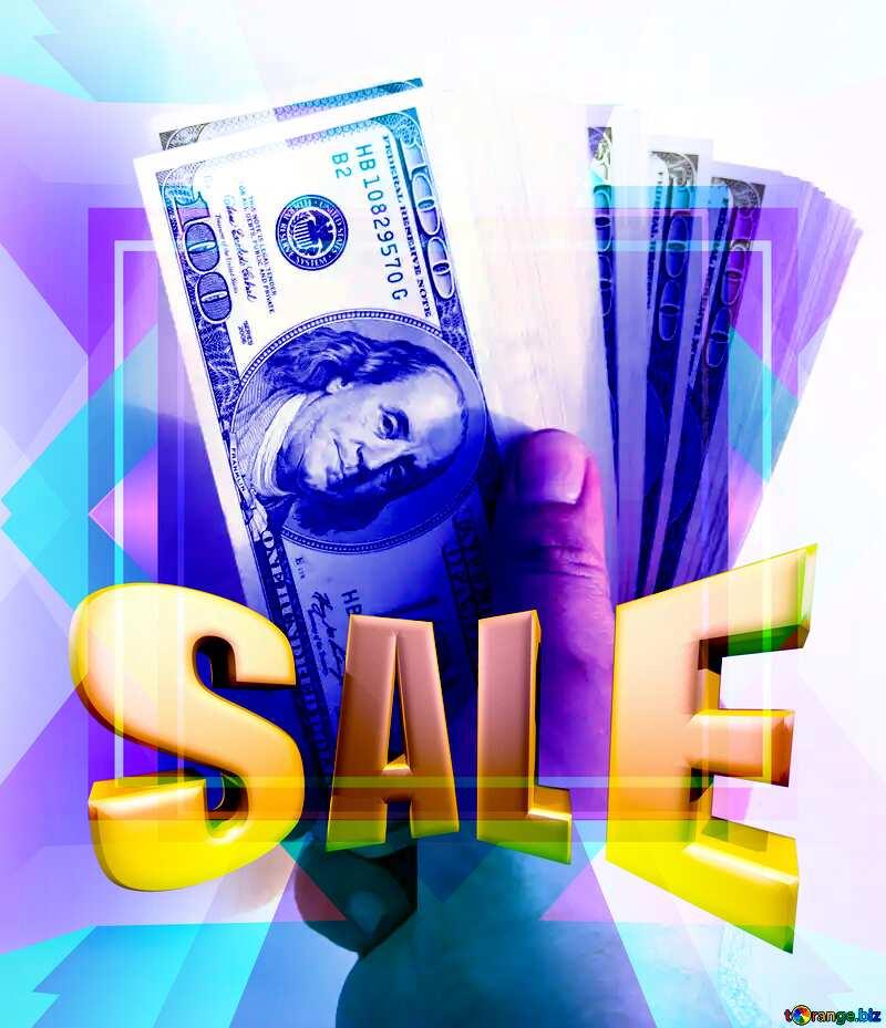 Fan of hundred-dollar bills Frame Design Template Sales promotion 3d Gold letters sale background №1528