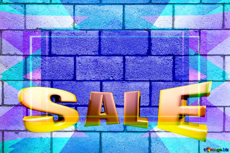 Concrete Blocks Wall Design Frame Blue Template Sales promotion 3d Gold letters sale background №5320