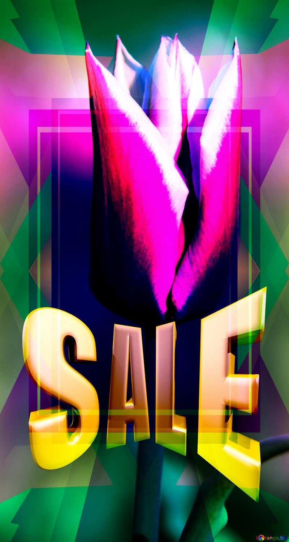 Tulip Flower Banner Background Frame Template Sales promotion 3d Gold letters sale №1658