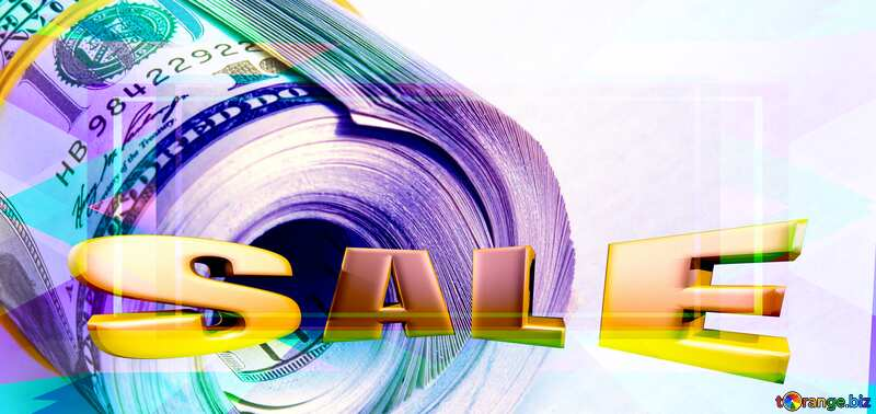 Dollars curtailed and drawn by an elastic band Template Sales promotion 3d Gold letters sale background №1483