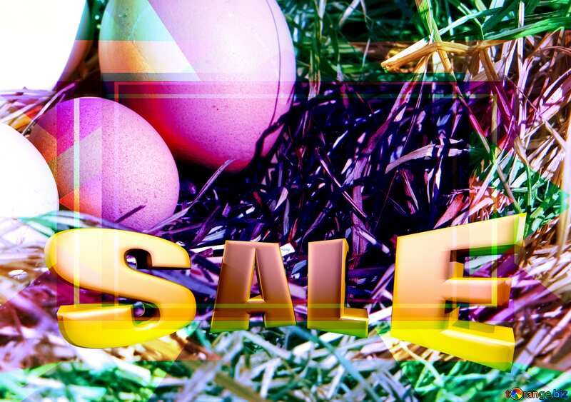 Eggs in the nest Business Design Frame Infographic Template Sales promotion 3d Gold letters sale background №1069