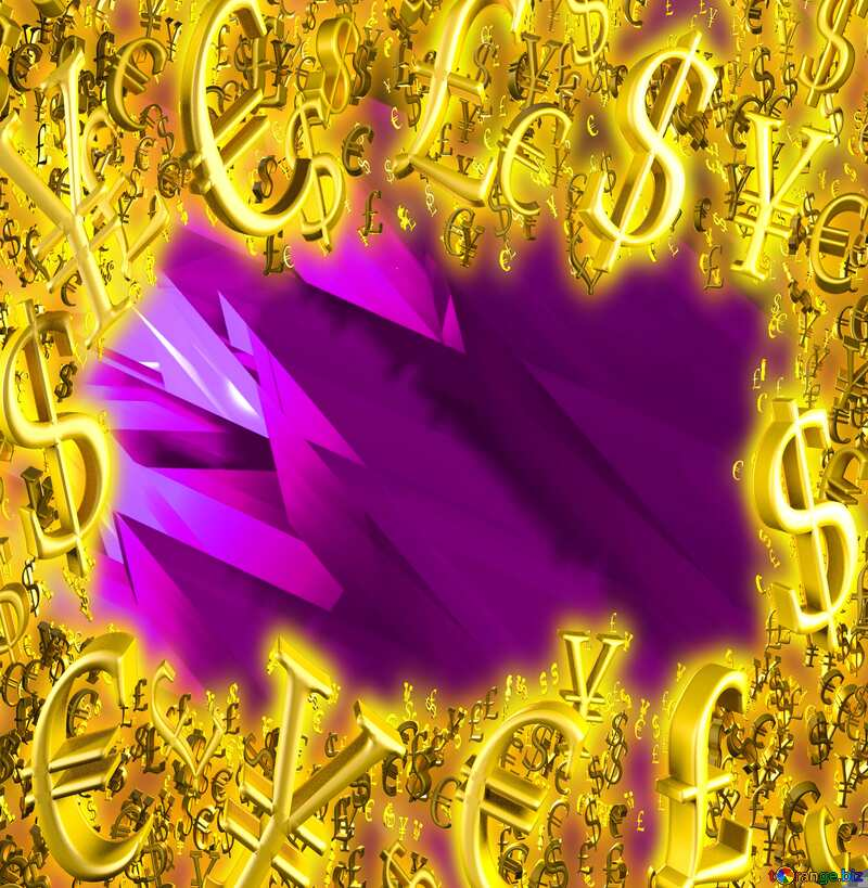 Gold money frame border 3d currency symbols business template Abstract Purple Background Futuristic Pattern №51524