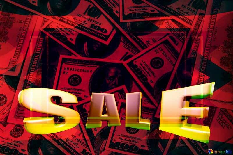 Dollars red background Frame Design Template Sales promotion 3d Gold letters sale background №1507