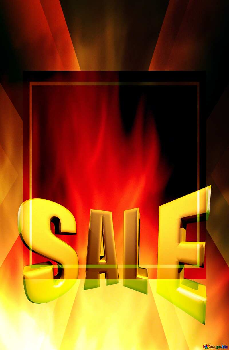 pretty fire background Template Sale offer discount template Sales promotion 3d Gold letters sale background №9546
