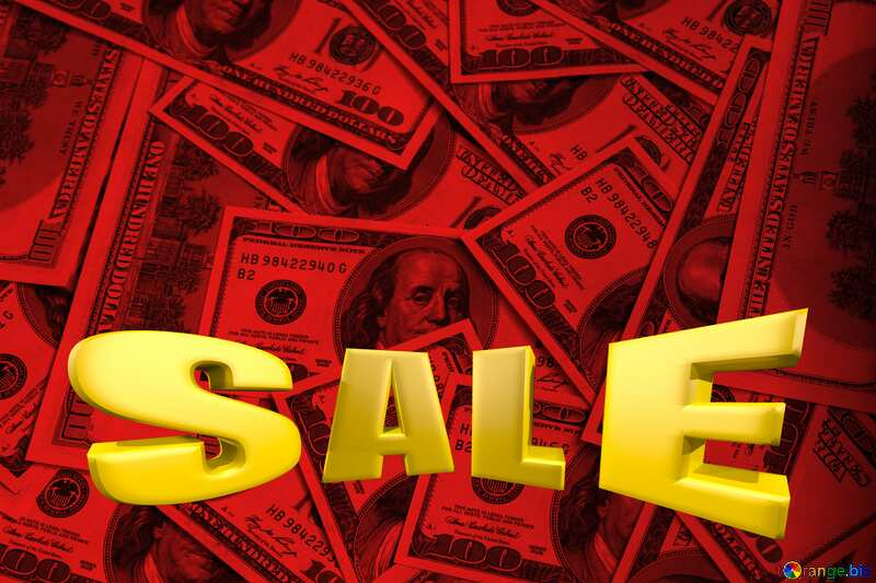 Dollars red background Sale offer discount template Sales promotion 3d Gold letters sale background №1507