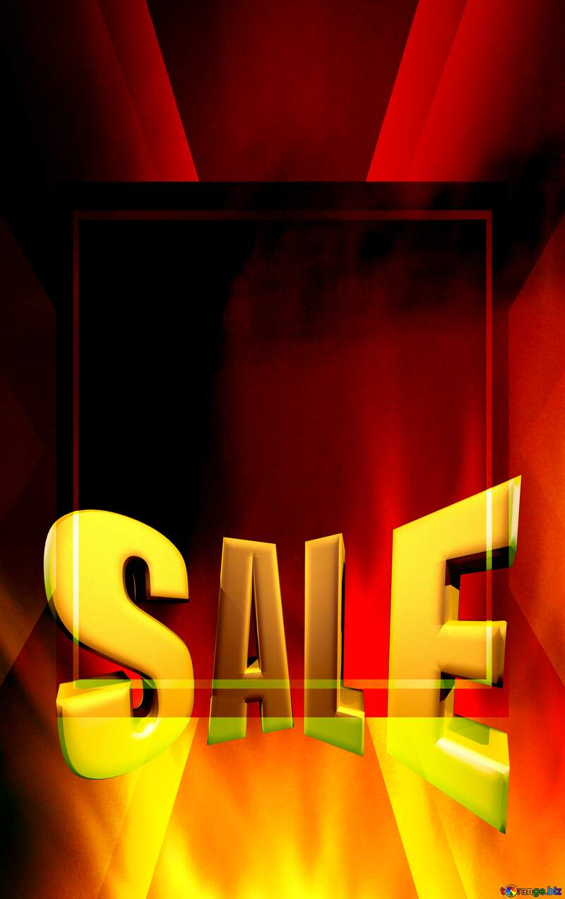 Sales promotion 3d Gold letters sale background Fire Hot Template №9546