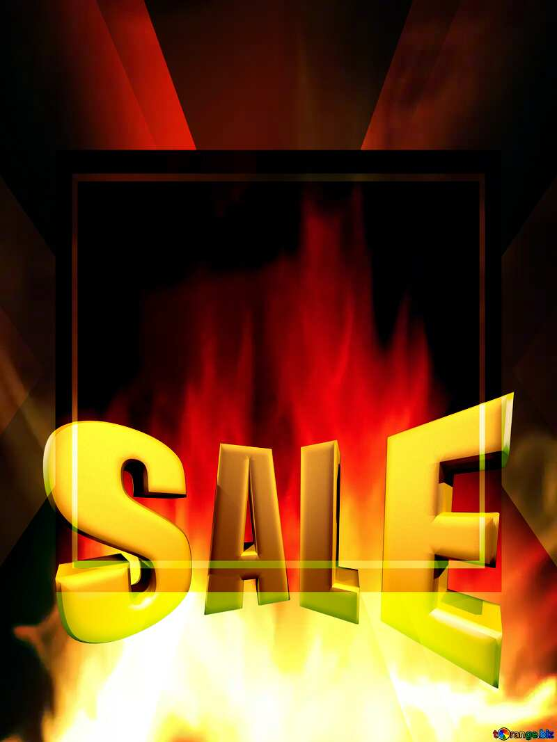 Sales promotion 3d Gold letters sale background Fire Template №9546