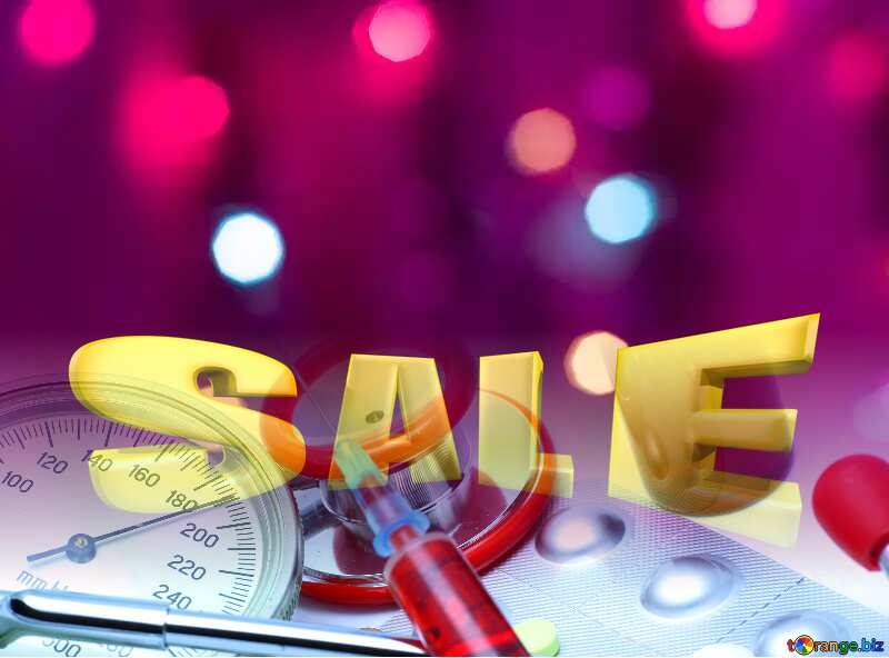 Sales promotion 3d Gold letters sale background Medicine Template №15131