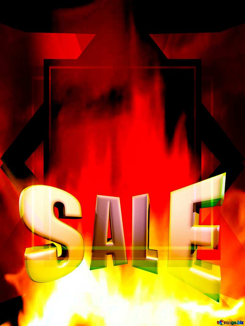 Sales promotion 3d Gold letters sale background Template Fire Wall №9546