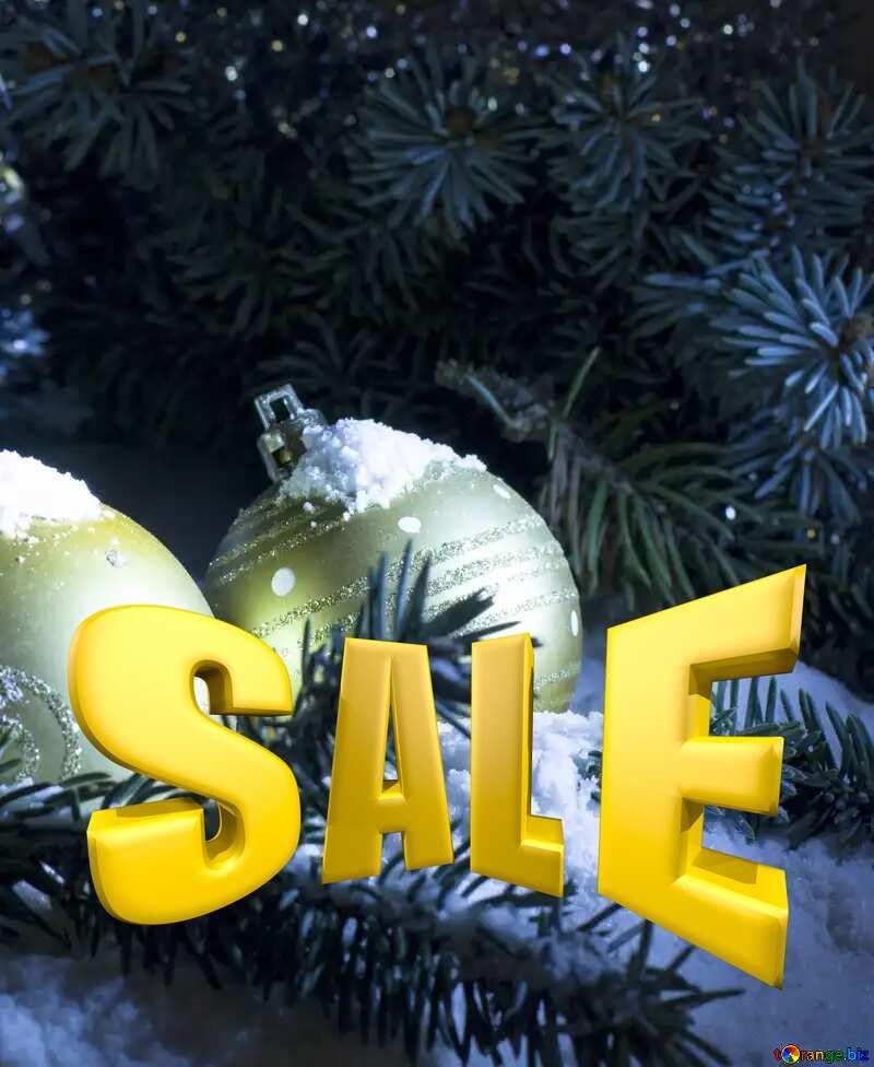 Sales promotion 3d Gold letters sale background Winter Template №15372