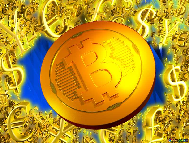 Gold money frame border 3d currency symbols business template Bitcoin Abstract Background Coin Futuristic №51524