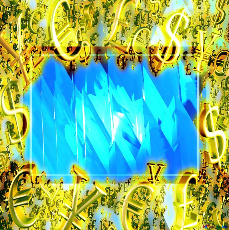 Gold money frame border 3d currency symbols business template Blue Futuristic Abstract Background №51524
