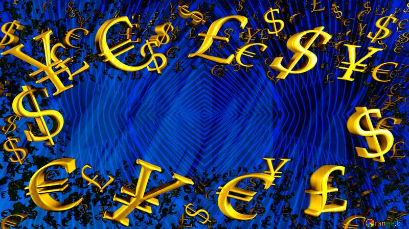 Gold money frame border 3d currency symbols business template Blue Futuristic Rendering background №51526