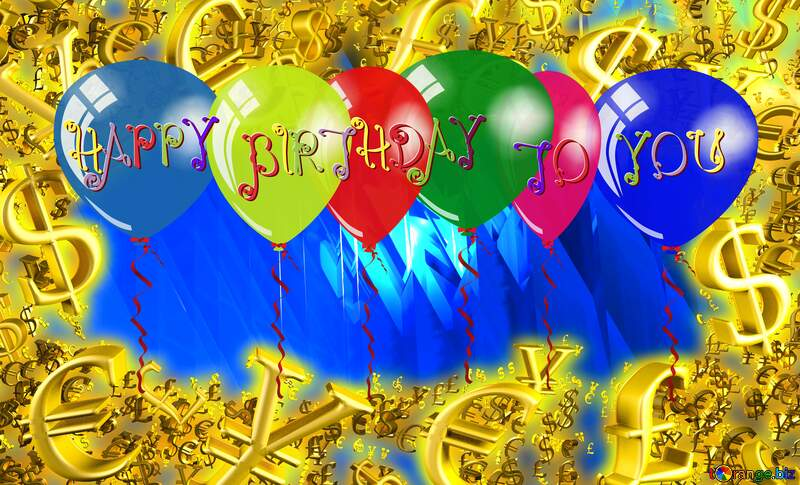 Happy Birthday Card Background Sale offer discount template Gold money frame border 3d currency symbols business №51524