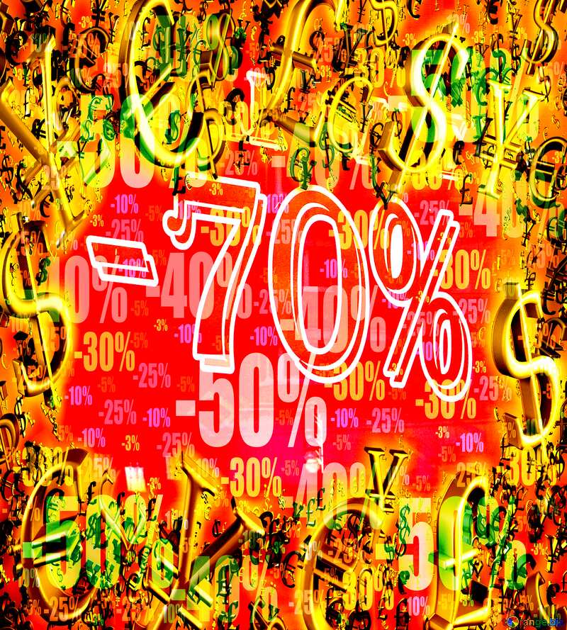 Final Hot sale 70% selling banner discount Red background Gold money frame border 3d currency symbols business template №48494