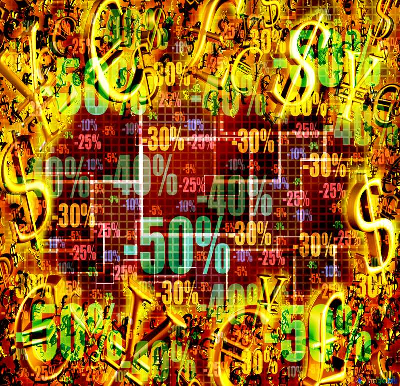 Store discount dark background. Cell Computer Dark Discount Line Sale Gold money frame border 3d currency symbols business template №49678