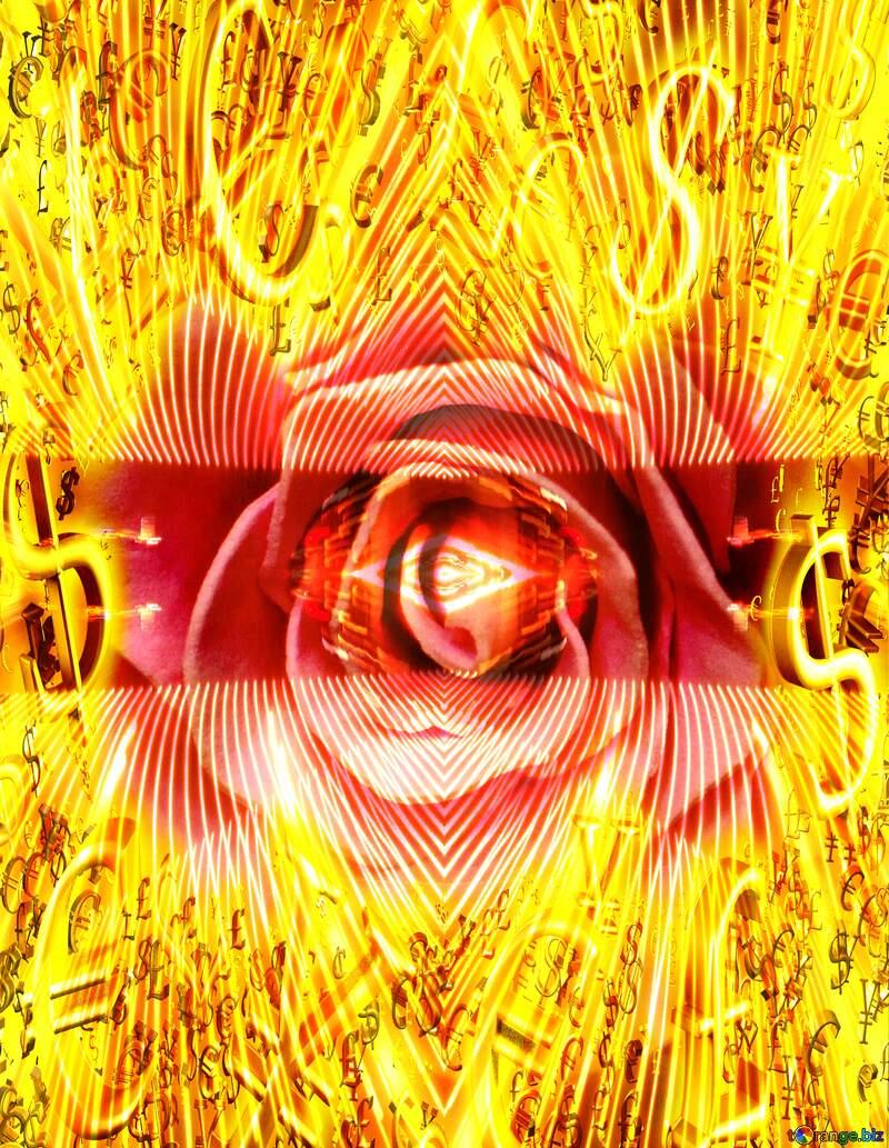 Rose flower Gold money frame border 3d currency symbols business template Lines Lights Background №48638