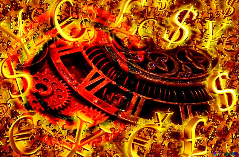 Hot Sale Gold money frame border 3d currency symbols business template Steampunk Background №48981