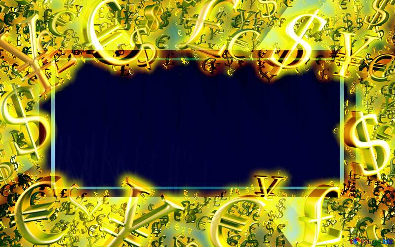Gold money frame border 3d currency symbols business template Background Banner №51526