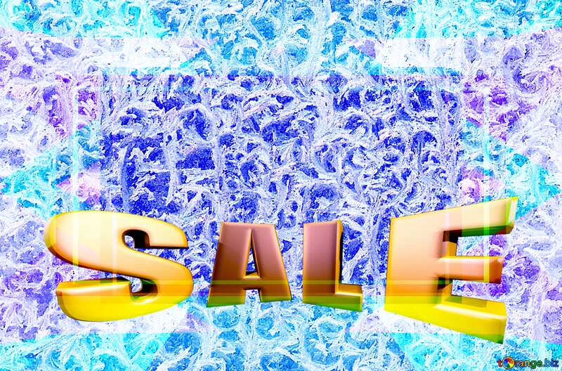 Sales promotion 3d Gold letters sale background Silhouette of cactus against the backdrop of the frozen window №4065