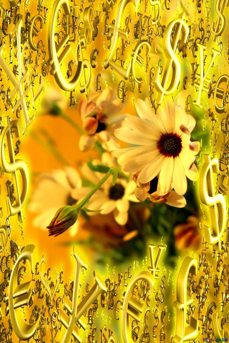 Beautiful autumn bouquet Gold money frame border 3d currency symbols business template №46861