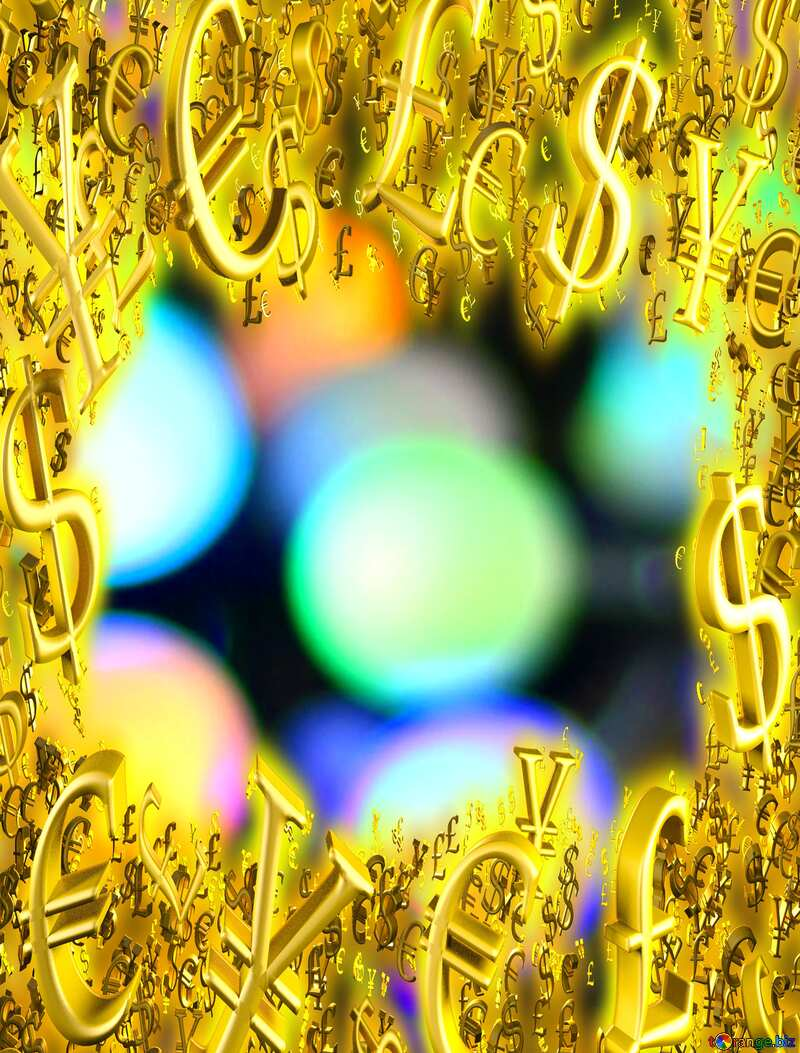 Blurred Christmas Background Gold money frame border 3d currency symbols business template №47899