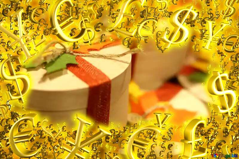Autumn gift wrapping Gold money frame border 3d currency symbols business template №49292