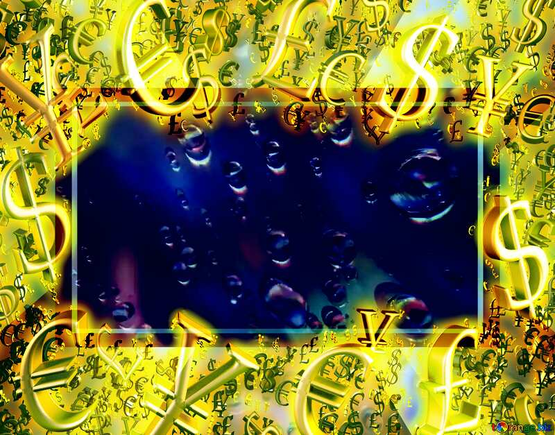 Raindrops macro background Gold money frame border 3d currency symbols business template №47982